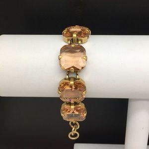 J CREW Peach Champagne Rhinestone Bracelet JCREW